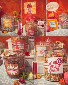 "super hero party - cereal buffet - ""rings of power"", ""captain America crunch"" love this idea. Birthday Party Snacks, Superhero Birthday Party, Snacks Für Party, Birthday Ideas, Birthday Breakfast, Sleepover Party, Avenger Party, Avengers Birthday, Think Food"