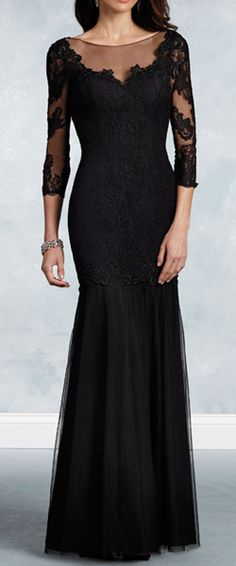 Mermaid 3/4 Length Sleeves Illusion Neckline Lace Long Mother of The Bride Dresses