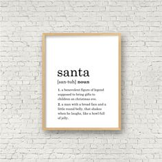 Excited to share this item from my #etsy shop: Santa Definition Print // Printable Wall Art // Digital Instant Download
