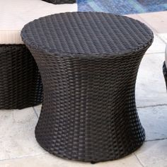 Abbyson Living Courtney Outdoor Wicker Patio End Table. Stylish and lightweight accent! UV- and water-resistant resin wicker. Lightweight yet durable construction. manufacturer's warranty. Outdoor Seating, Outdoor Sofa, Outdoor Decor, End Tables For Sale, Iron Patio Furniture, Outdoor Furniture, Small Coffee Table, Bistro Chairs, White Wicker