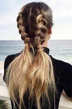 hair hacks Coiffure rapide et facile: les messy cornrows Pigtail Hairstyles, Pigtail Braids, Pretty Hairstyles, Easy Hairstyles, Hairstyle Ideas, Sport Hairstyles, Everyday Hairstyles, Fishtail Plaits, Running Hairstyles