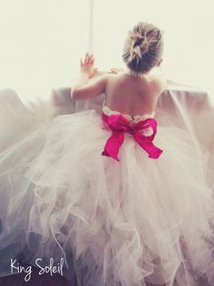 but navy...Flower Girl Tutu Dress Crochet Bodice Silk Ribbon Sash and Bow Extra Full Tulle Tutu Shiny Ivory and Pink Infant to Child Size 6..would be cute to do when young and then same pic when older on wedding day :)