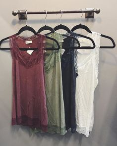Good Basics = Great Outfits ➟ Lace Layering Tanks $26 // we love them layered under our HT favorite pocket tees & thermals.  SHOP HOITY TOITY #shophoitytoity