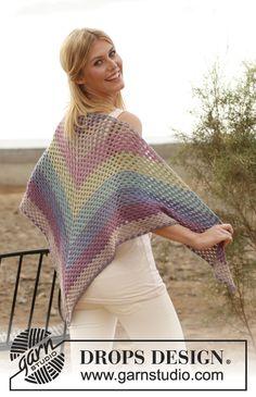 "Rainbow - Crochet DROPS shawl with dc-groups in ""BabyAlpaca Silk"". - Free pattern by DROPS Design Poncho Crochet, Crochet Prayer Shawls, Crochet Shawls And Wraps, Love Crochet, Crochet Scarves, Beautiful Crochet, Crochet Clothes, Shawl Patterns, Knitting Patterns Free"