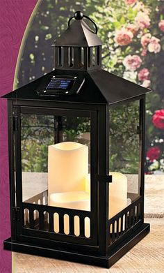 Check Out The Deal On Solar Powered Black Lantern With 3 Outdoor Candles    16 Inch