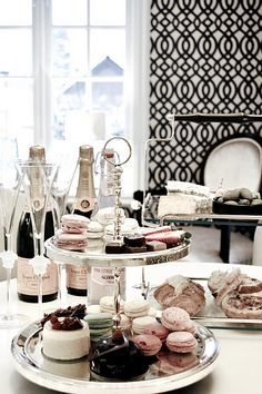"Butler: ""What shall you have for lunch My Lady?"" Me: ""I would like some imported French Macarons, just pink enough to match the wallpaper, a couple little pastry trifles, and oh yes, some sort of a fizzy drink. I am on a diet so I decided to make the meal more simple today. ""   Pink champagne heaven"