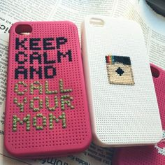 iPhone 4 cases, cross stitched customized patterns