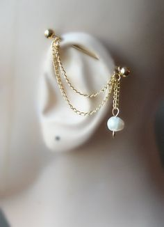 Golden Industrial Barbell, Industrial piercing,  Jewelry, Industrial bar earring, Industrial piercing chain, freshwater pearl ,(m7) by triballook on Etsy https://www.etsy.com/listing/228089556/golden-industrial-barbell-industrial