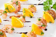 Grilled orange shrimp skewers