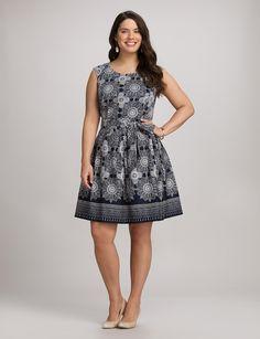 Plus Size   Dresses   Plus Size Medallion Fit-and-Flare Dress