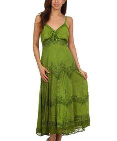Love this Green Embroidered Empire-Waist Maxi Dress - Women & Plus by Sakkas on #zulily! #zulilyfinds