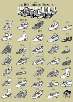 All 18 c. ,majority have pointed toes. I believe the lower classes wore rounder toes for comfort. ALady. A visual guide of shoe styles throughout the 18th century