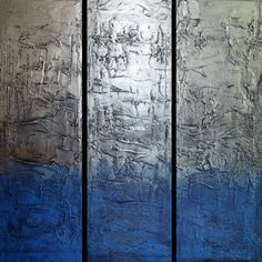"blue painting blue wall art EXTRA LARGE triptych 3 panel "" Eccentric Silver "" paintings on canvas original metal wall art blue 48 x 3 Panel Wall Art, Triptych Wall Art, Metal Wall Art, Canvas Wall Art, Blue Painting, Hand Painting Art, Painting Canvas, Silver Wall Art, Industrial Wall Art"