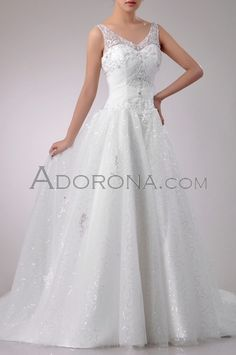 Wedding Dresses with straps Ivory -W20104_a