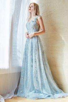 Gowns With Sleeves, Lace Sleeves, Short Sleeves, Baby Blue Wedding Dresses, Light Blue Wedding Dress, Light Blue Long Dress, One Shoulder Gown, Long Prom Gowns, A Line Gown