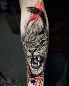 50 Eye-Catching Lion Tattoos That'll Make You Want To Get Inked super creative lion tattoo designs © tattoo artist Chehomova Dasha ha Lion Head Tattoos, Leo Tattoos, Animal Tattoos, Body Art Tattoos, Girl Tattoos, Tattoos For Guys, Lion Leg Tattoo, Tattoo Trash, Trash Polka Tattoo