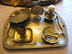 Vintage brass grooming/shaving accessories for sale at More Than McCoy on TIAS at http//www.morethanmccoy.com