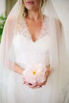 Stunning Monique Lhuillier wedding dress (moniquelhuillier.com) | Photography: Heather Kincaid - heatherkincaid.com  Read More: http://www.stylemepretty.com/california-weddings/2014/05/23/romantic-elegance-at-bel-air-private-estate/