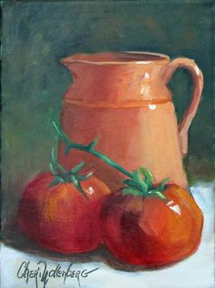 This little peach colored creamer with ripe, juicy and red tomatoes made a great composition for a little 6x8 canvas oil painting. The green