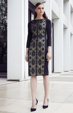 Ted Baker London Ted  Baker London 'Mikha' Metallic Jacquard Panel Sheath Dress available at #Nordstrom