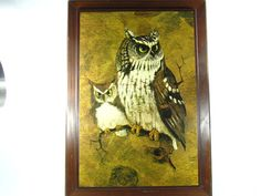 Owl Print Wood Frame Farmhouse decor Rustic by KarensChicNShabby Rustic Farmhouse Decor, Rustic Wood, Rustic Decor, 1960s Decor, Vintage Decor, Screech Owl, Owl Print, Warm Colors, Childhood Memories