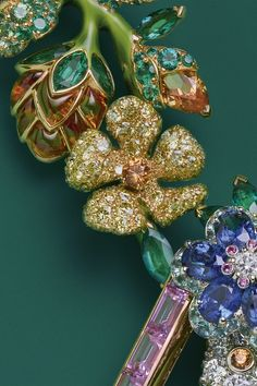 "DIOR. {Close up} ""Trianon Diamant"" necklace in pink, yellow and white gold, diamonds, pink sapphires, emeralds, sapphires, tsavorite and spessartite garnets, yellow sapphires, yellow diamonds, turquoise, Paraiba-type tourmalines and ruby​ #DIOR #DIORÀVersaillesCôtéJardins #2017 #DIORJewellery #HighJewelry #FineJewellery #HauteJoaillerie #Diamond #YellowDiamond #Emerald #Sapphire #PinkSapphire #YellowSapphire #Ruby #Tsavorite #SpessatiteGarnet #ParaïbaTourmaline #Turquoise"
