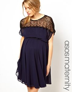 **********************************************ASOS Maternity Skater Dress With Scallop Lace Panel this is the one i think is really cute that also comes in navy i like the black and white.... not sure about for a wedding and baby shower tho???