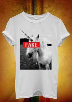 e03c4cad Unicorn Fake Funny Hipster Cool Men Women Unisex T Shirt Tank Top Vest 908