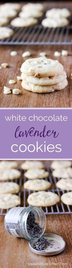 Chewy White Chocolate Lavender Cookies - an elegant treat! Perfect for a spring bridal or baby shower.