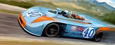 Pedro Rodruiguez in the Gulf Porsche #40 at Targa Florio in 1970 by ~ThePhelp