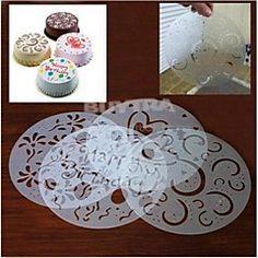 decoração do bolo de açúcar stencil moldes fondant de spray de impressão rodada pvc reutilizável