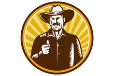 Cowboy Thumbs Up Sunburst Circle  - Illustrations. Illustration of a cowboy smiling wearing hat thumbs up facing front set inside circle with sunburst in the background done in retro woodcut style. #illustration #CowboyThumbsUp