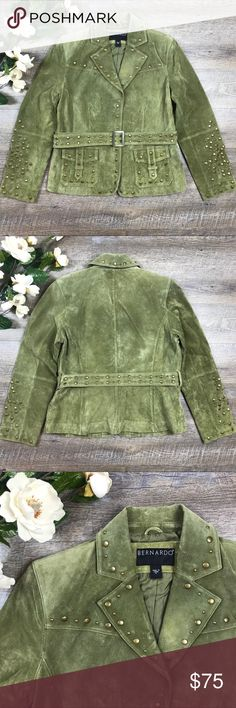 Green Bernardo Suede Studded Jacket Adorable green suede studded Bernardo jacket! Shell: 100% genuine leather, lining: 100% polyester. In good condition. Suede could use dry cleaning and there are 2 studs missing (see images), other wise looks great. Size M. See images for measurements. K-9 Bernardo Jackets & Coats