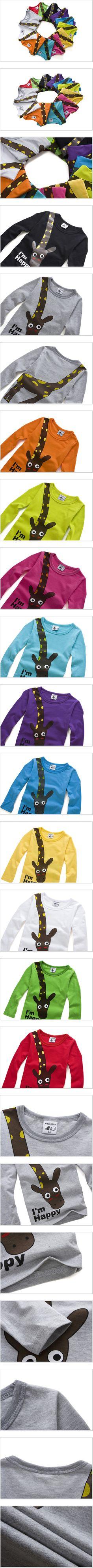 Vente HOT NEW 2015 à manches longues Giraffe je suis heureux t shirt garçons enfants Top manches longues vêtements décontractés bébé vêtements dans Tee-shirts de Produits pour bébés sur AliExpress.com | Alibaba Group