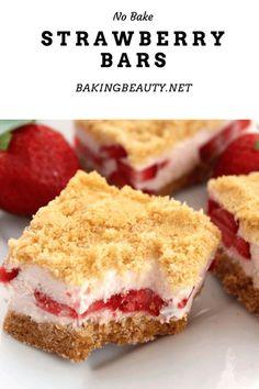 Strawberry Shortcake Bar Recipe, Strawberry Bars, Fruit Recipes, Baking Recipes, Dessert Recipes, Baked Strawberries, Summer Treats, Cookies And Cream, Easy Desserts