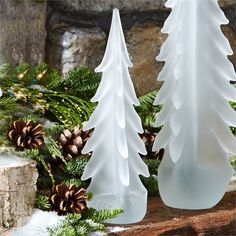Two's Company Frosted Art Glass Tree Set of 2 – Modish Store