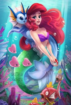 Disney princess and pokemon mashup! Amazing fan art featuring pricess Ariel and Vaporeon, the water type eeveelution! Also, the magikarp are a cute addition! Disney Fan Art, Disney Love, Disney Magic, Disney Amor, Disney Girls, Disney E Dreamworks, Disney Pixar, Shrek Dreamworks, Mermaid Disney