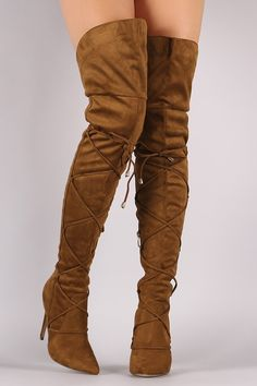 80923ca31eb Lace Front Pointy Toe OTK Stiletto Boots. Over The Knee ...