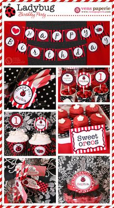 Red LadyBug Birthday Party Package Personalized FULL
