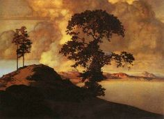 Maxfield Parrish--Atlas Landscape