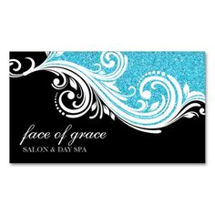 BUSINESS CARD elegant swirl aqua  glitter black. This great business card design is available for customization. All text style, colors, sizes can be modified to fit your needs. Just click the image to learn more!