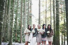 Gorgeous Bridesmaids in Glittering Vintage Dresses | Anastasia Photography | See More! http://heyweddinglady.com/luxe-snowy-winter-wedding-from-anastasia-photography/
