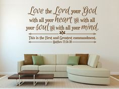 Scripture Wall Decal. Love the Lord your God by WeAreVinylDesigns, $24.00