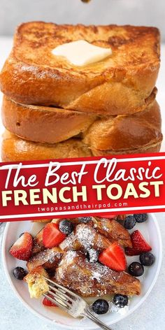 Holiday mornings call for Classic French Toast! You don't have to leave the house to enjoy an easy batch of this light and fluffy treats. With just 5 ingredients, you can whisk up a delicious breakfast for your family! Serve with butter, maple syrup, and powdered sugar! Healthy Breakfast For Weight Loss, Breakfast For A Crowd, Perfect Breakfast, Breakfast Ideas, Delicious Breakfast Recipes, Brunch Recipes, Yummy Food, Dinner Recipes, Fun Baking Recipes