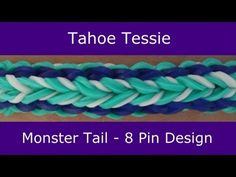 Monster Tail® TAHOE TESSIE Bracelet. An official Rainbow Loom design. Looming and tutorial by Suzanne Peterson. Click photo for YouTube tutorial. 06/22/14.