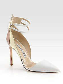 Manolo Blahnik - Misto Leather Ankle Strap Pumps