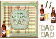 A great 'Father's Day' Decoupage Topper.  Sheet includes:  Main Topper approx: 8x8ins  Decoupage Elements  'DAD' Decoupage Elements  2 x 'cigar' embellishments if you wish to add them to your card front.  There are also 2 matching inserts - cup780548_719 & cup780541_719 which can be purchased separately.   I have designed a collection of these 'Father's Day' Toppers with different backdrops which you can view by clicking on the thumbnail images belo...