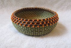 Beaded Sweet grass pine needle Basket 356 by pineneedleperfection