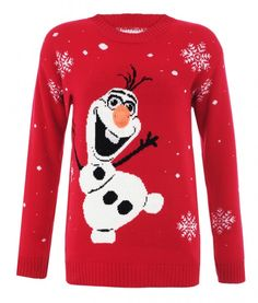 Red Olaf Xmas Jumper #frozen #snowflakes #snowman #merrychristmas #thechristmasjumpersco http://www.jumpersforchristmas.com/product/red-olaf-xmas-jumper/