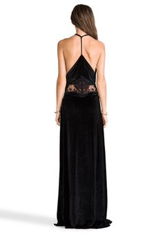 JARLO Siobahn Velvet Maxi Dress in Black - New